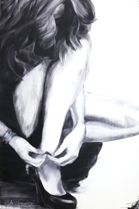 Туфелька.  Серия работ «Блюз». Автор: художница-самоучка Джанель Элефтекракис (Janel Eleftherakis).