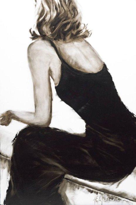 Грация. Серия работ «Маленькое чёрное платье». Автор: художница-самоучка Джанель Элефтекракис (Janel Eleftherakis).