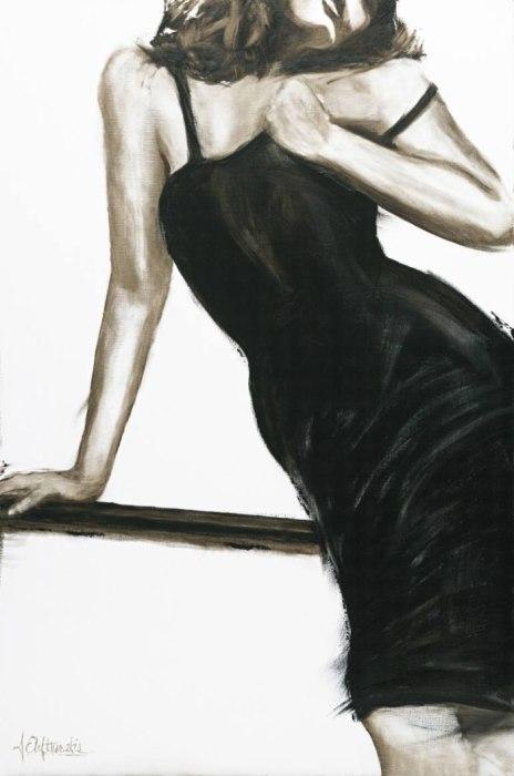 Женственность. Серия работ «Маленькое чёрное платье». Автор: художница-самоучка Джанель Элефтекракис (Janel Eleftherakis).
