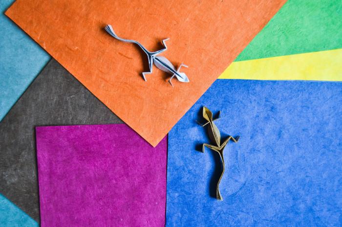 Ящерицы. Мастер оригами: Гонсало Гарсия Кальво (Gonzalo Garcia Calvo).