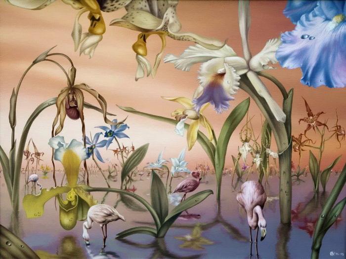 Фламинго в саду орхидей. Автор: Андрей Горенков.