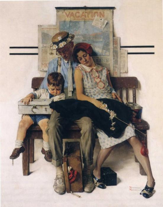 Уставшая семья. Автор: Norman Rockwell.