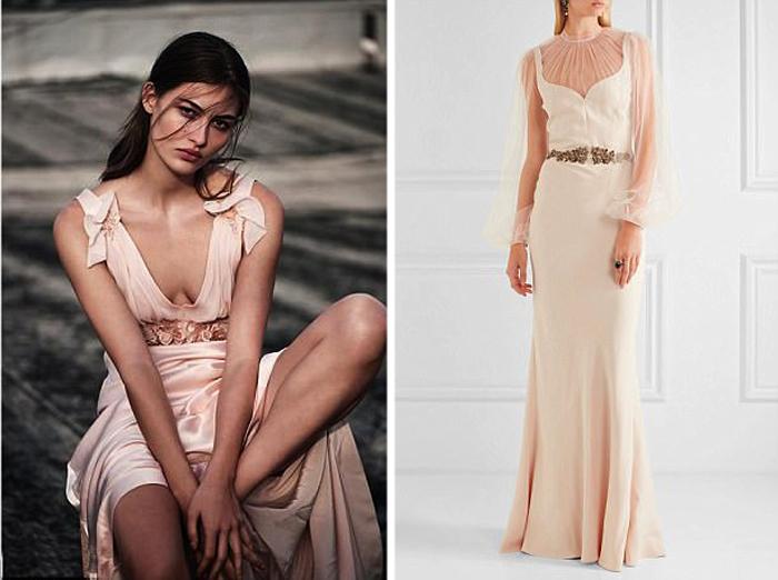 Розовое подвенечное платье.