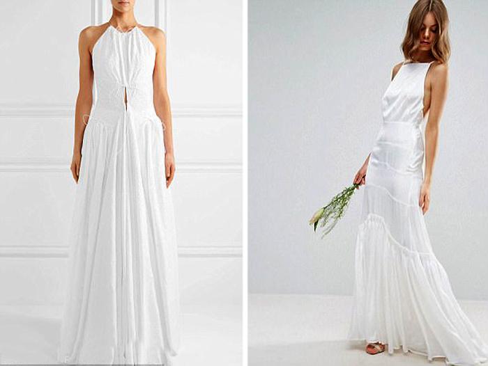 Простое белое платье в пол.