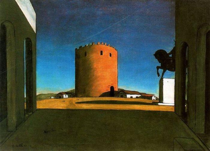 Красная башня, 1913 год. Автор: Giorgio de Chirico.