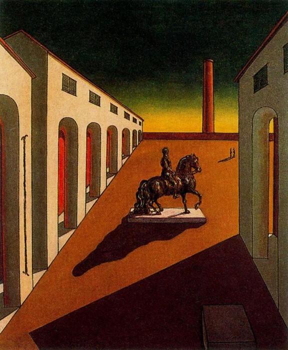 Пьяцца д'Италия с конной статуей. Автор: Giorgio de Chirico.