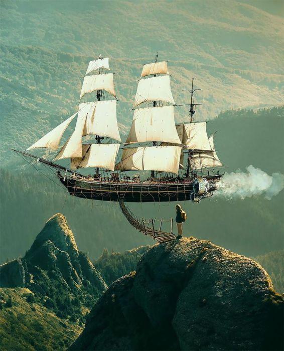 Летучий корабль. Автор: Huseyin Sahin.
