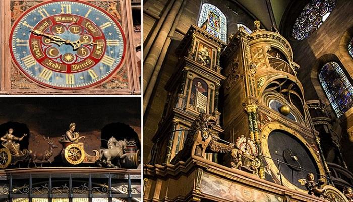 30-метровые часы в Страсбургском соборе.